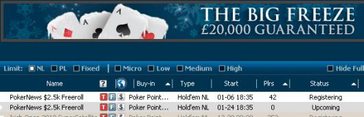 .500 PokerNews Cash Freeroll hoje no William Hill 101