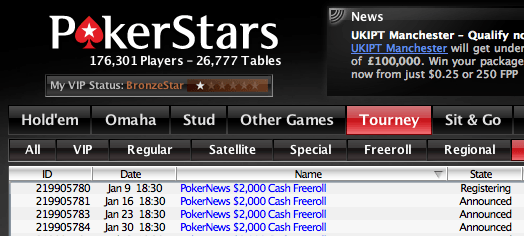$2,000 PokerNews Cash Freerolls