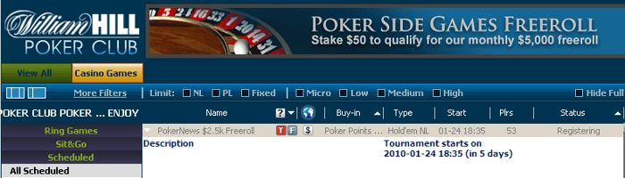 ,000 em Freerolls na William Hill 101