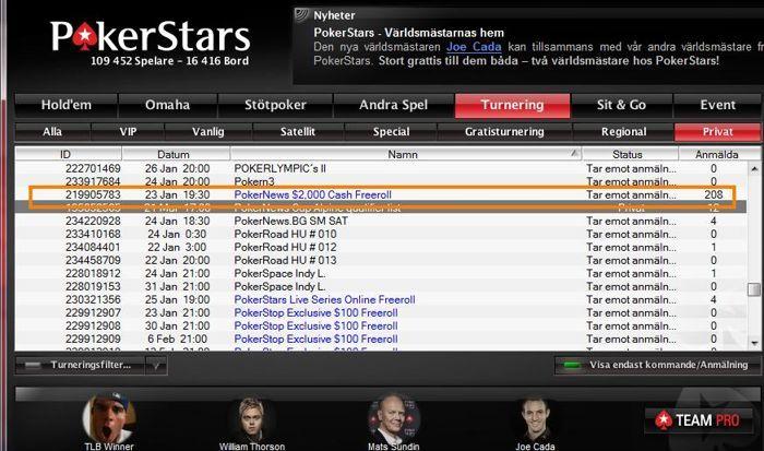 PokerStars lobby – PokerNews $2000 freerolls! (klicka för större bild)