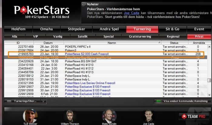 PokerStars lobby – PokerNews $2000 freerolls