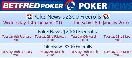 Rozpis turnajů na BetFred Poker