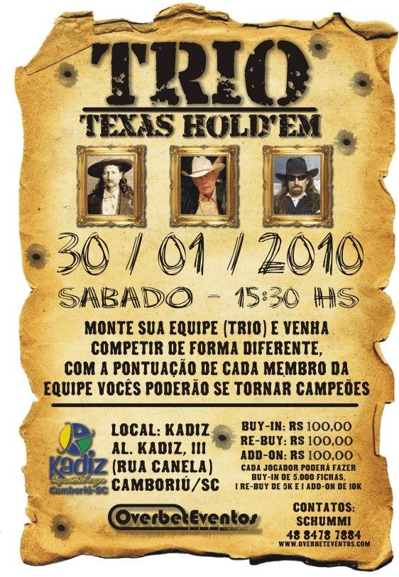 TRIO TEXAS HOLD'EM: Torneio de Trios em Camboriú 101