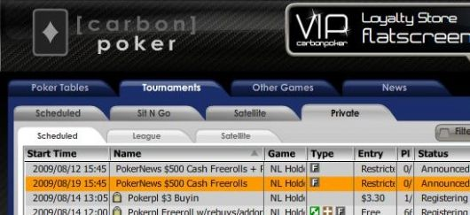 Hrajte 0 PokerNews freerolly na Carbon Poker 101