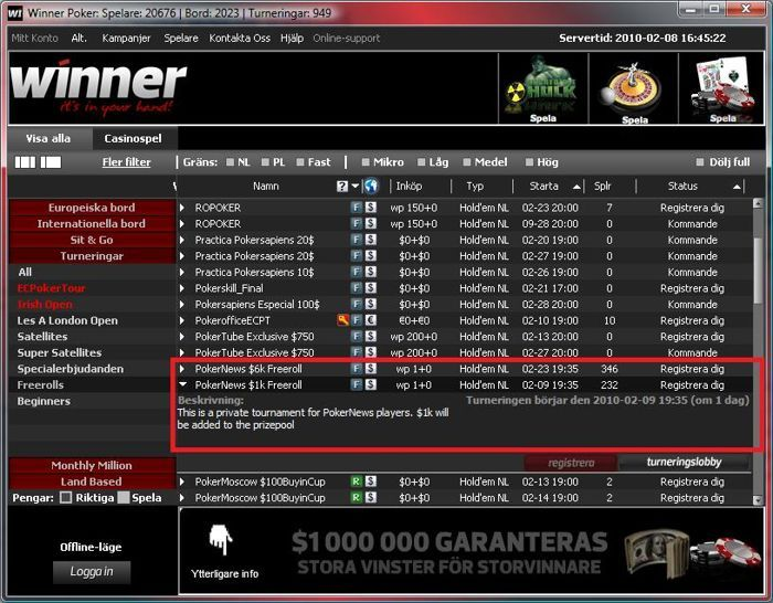 Winner Poker Lobby - PokerNews $1.000 freerolls