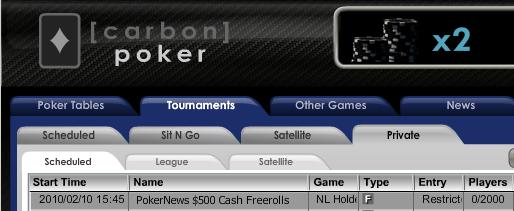 0 PokerNews Cash Freerolls Series no Carbon Poker 101