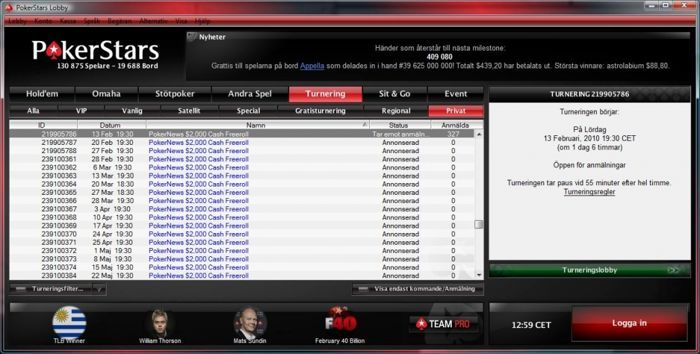 PokerStars lobby - PokerNews $2.000 freerolls (Klik for større billede)
