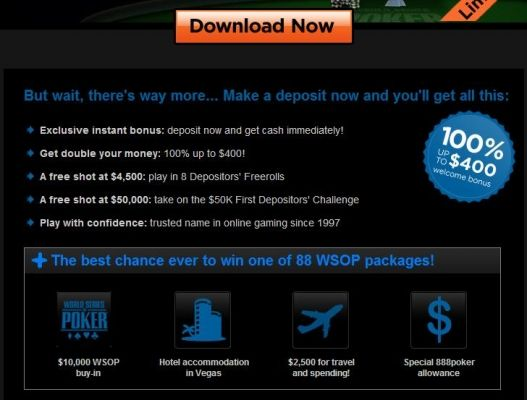 Vá às World Series of Poker 2010 com a 888 Poker 101