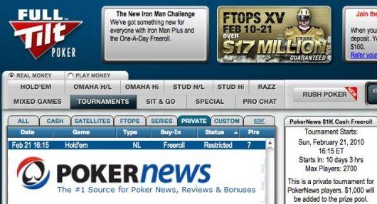 Freerolly o ,000 na Full Tilt pokeru jsou zpět 101