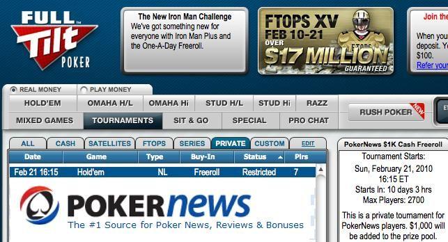 Estao de volta as ,000 Full Tilt Poker Freeroll Series 101