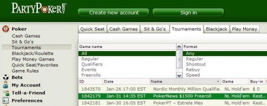 ,500 PokerNews Cash Freerolls na Party Poker 101