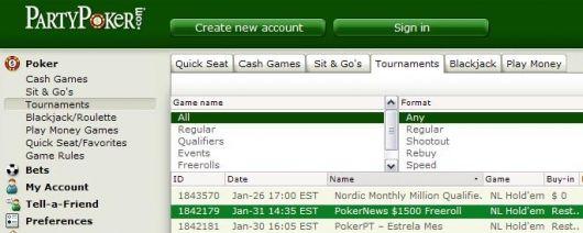 更多来自Party Poker的1500美元免费比赛 101