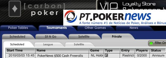0 PokerNews Cash Freeroll Series na Carbon Poker 101