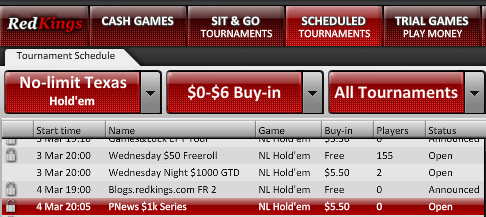 RedKings Poker: serie de torneos de 1.000$ ¡sin requisitos! Hoy Jueves, nueva cita 101