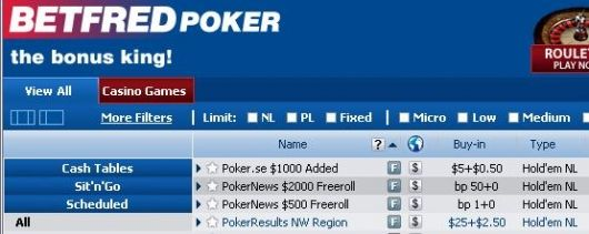 ,000 a 0 freerolly na Betfred Poker 101