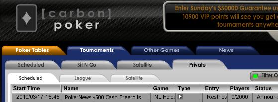 0 PokerNews Cash Freeroll Series na Carbon Poker 101