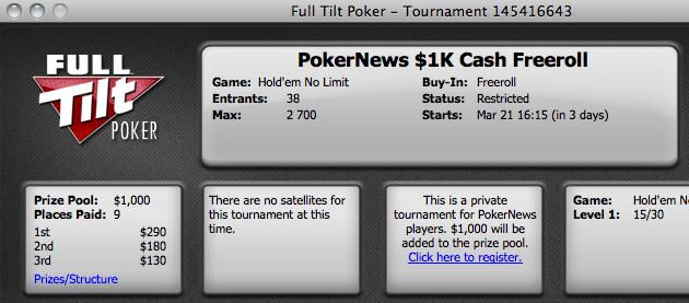 Amanhã Mais um Torneio das ,000 Full Tilt Poker Freeroll Series 101