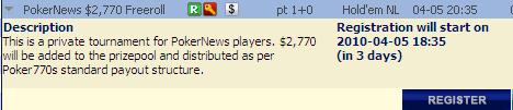 Amanhã ,770 PokerNews Cash Freeroll na Poker 770 101