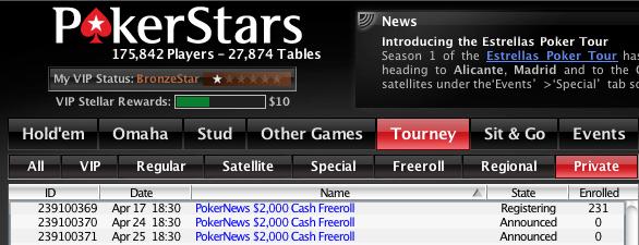 Exclusivos para Jogadores PokerNews - ,000 Cash Freerolls na PokerStars 101