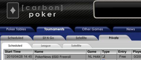 0 PokerNews Cash Freerolls na Carbon Poker 101