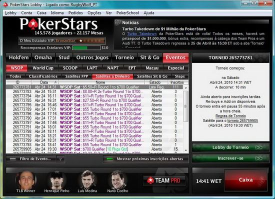 World Series of Poker: Arrancaram os Satélites na PokerStars 101