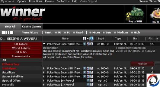 Hoje às 20:35 PokerNews Super k na Winner Poker 101