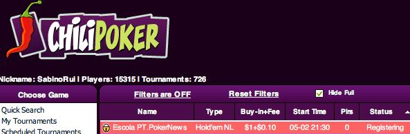 Liga PT.PokerNews - IV Etapa a partir das 21:30 na ChiliPoker 101