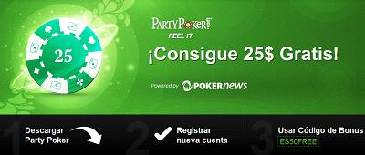 Consigue 25$ GRATIS en PartyPoker - ¡No hay que depositar dinero! 101