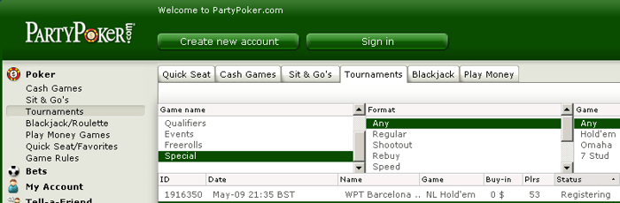 Amanhã 21:35 Freeroll Exclusivo para o WPT Barcelona na Party Poker 101