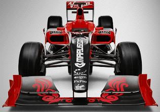 Éste es el bólido de Virgin Racing... aún no le han puesto los parches de Full Tilt, pero desde Montmeló, los llevará encima