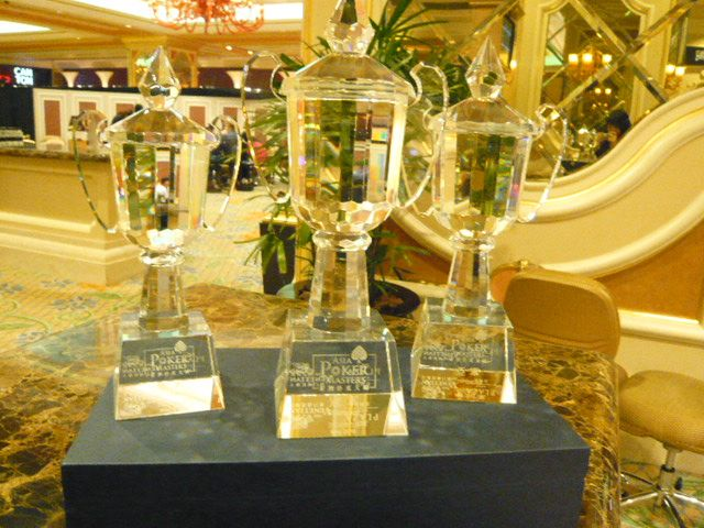 The trophies for the top three finishers.