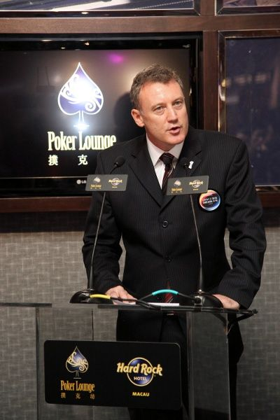Mr. Greg Hawkins, President of City of Dreams speaking at the Hard Rock Poker Lounge Media Launch Event.