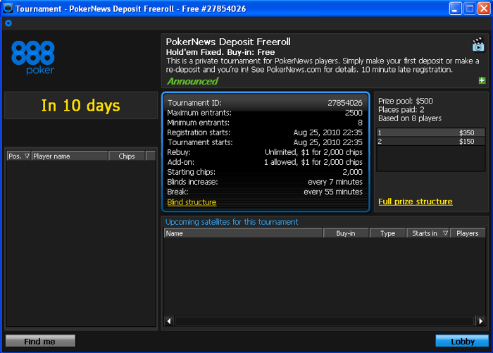 The Next 0 PokerNews Deposit Freeroll on 888 Poker Starting Soon - Just Make a Deposit to... 101