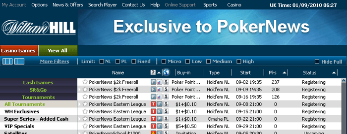 "Club PokerNews Freerolls are live in the William Hill client under ""All Tournaments"""