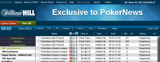 "Club PokerNews sine freeroller turneringer er synlige i William Hill klienten under ""All Tournaments"""