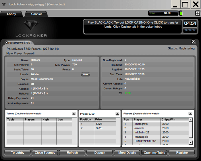 Only 6 sign ups so far to the first $750 Freeroll