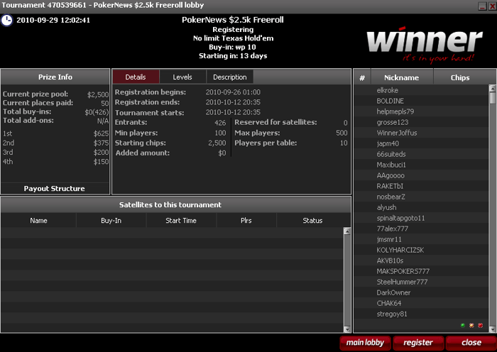 Winner Poker Vender Tilbage Med En .500 Freeroll Serie - Kun 10 Points Krævet For At... 101