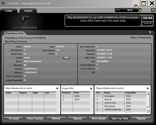.500 em Freerolls Exclusivos na Lock Poker + Freerolls sem depósito e Bónus de... 101