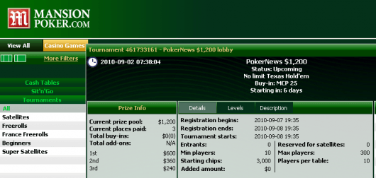 Mansion Poker ,200 Freeroll - Snadná kvalifikace na zítřejší turnaj! 101