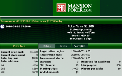 ¡Date prisa y calíficate para el freeroll de Mansion Poker de 1.200$ de esta noche! 101