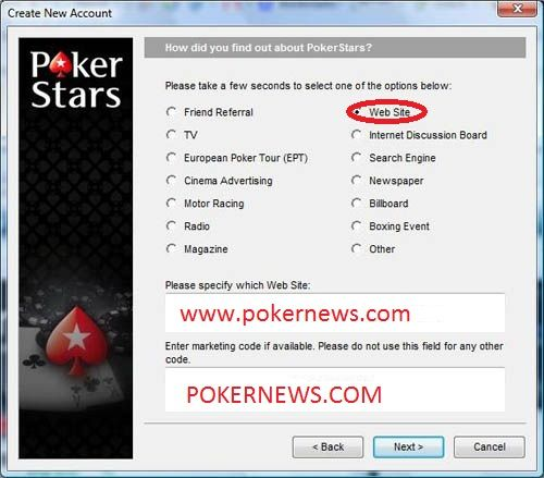 Don't forget to use our marketing code POKERNEWS.COM otherwise you will not be eligible for all our exclusive promotions