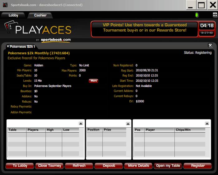 Havonta jelentkező .000 Freeroll a Playersonlyn és a Sportbook Pokeren 101