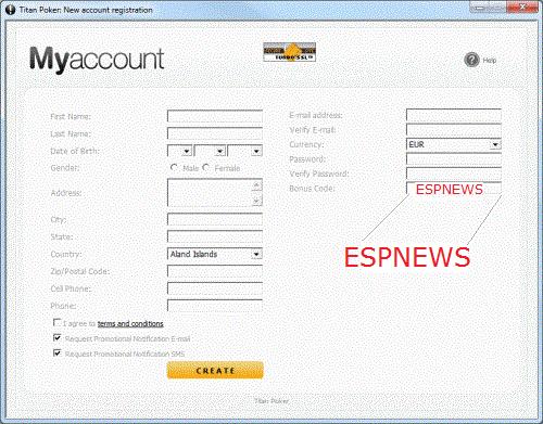 Usa el codigo de Bonus ESPNEWS cuando abras tu cuenta, para acceder a las promociones de Titan del Club PokerNews