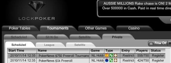 Exclusive 0 AND ,000 Sign Up Only Freerolls on Lock Poker This Sunday 101