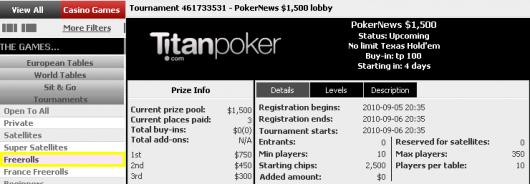 Titan Poker .500 Freerolls - To Dage Til Næste Freeroll 101