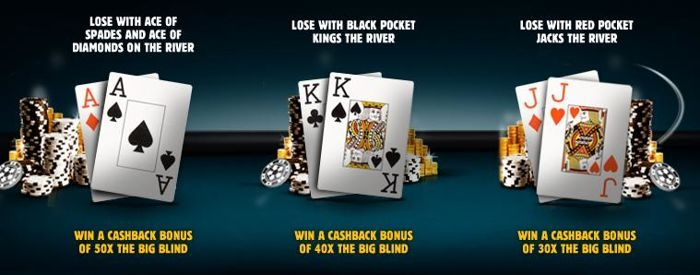 Prohrajte jednu z těchto magických třech hand - listové eso s pikovým esem, černé krále anebo červené jacky - a získejte speciální bonus