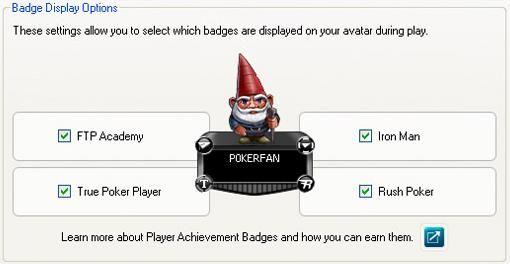 Zobrazení odznaků si můžete nastavit v Badget Display Options