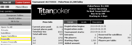 PokerNews .500 freeroll hos Titan poker i kveld kl 19:35 101