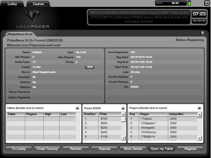 PokerNews Klubo Išskirtinis ,500 Nemokamas turnyras Lock Poker kambaryje - Paskubėkite... 103