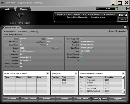 Eksklusive .500 freeroller hos Lock Poker i dag 28.desember kl 16:05 EST 102